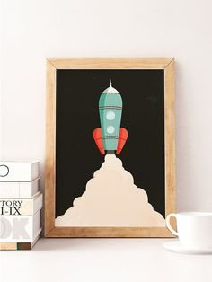 Vintage rocket print, Rocket print, Space wall art, Nursery wall art, Nursery print, Vintage nursery, Rocket wall decor, Kids room decor  Printed on Canson 270gsm satin, acid-free paper.  Available sizes:  A4 / 210 x 297 mm / 8.3 x 11.7 in A3 / 297 x 420 mm / 11.7 x 16.5 in A2 / 420 x 594 mm / 16.5 x 23.4 in  All prints are sent in a sturdy cardboard tube with tracking code.  Colors might be slightly different due to different screen color settings.  Frame is not included.   Thank you