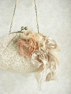 corsage and purse - millefeuille - hand dyed - lace, flower, rose, wedding, bridal, romantic on Etsy, $207.00