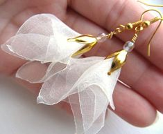 Ivory petals . organza earrings unique design by MGM wedding prom spring summer fashion fiber art