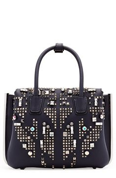 MCM 'Mini Milla' Studded Leather Tote. #mcm #bags #shoulder bags #hand bags #leather #tote #crystal