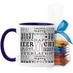Wrapped In Holiday Mug, Blue, with Ghirardelli Minis, 11 oz, White