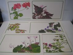 """Linda K Powell Placemats Floral Print 11X17"""" Signed Lot of 6 Laminated Vintage"""
