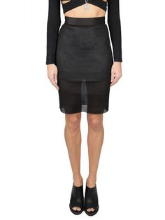 Shop Cameo Black Acoustic Skirt -  stretch mesh knee-length skirt with a mini-length underlay at overmybody.com - http://overmybody.com/collections/skirts/products/acoustic-skirt