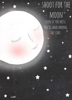 CHalkboard Art- Art for Nursery -  Moon Art - Shoot for the Moon-   Art Print - 8x10. I need this print!