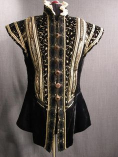 Doublet Mens Black Velvet Gold Embroidery Trim White Ruff