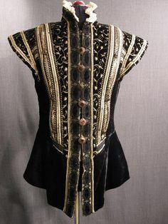 Doublet Mens Black Velvet Gold Embroidery Trim White Ruff
