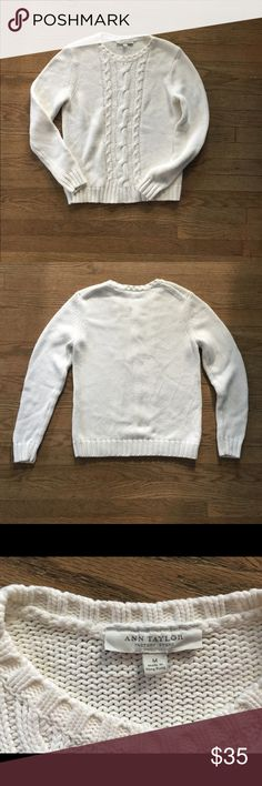 Ann Taylor White Chunky Cable Knit Sweater Gorgeous chunky white cable knit sweater by Ann Taylor Factory. Perfect condition, no rips, stains, snags, or tears. Machine washable, tumble dry. Ann Taylor Factory Sweaters
