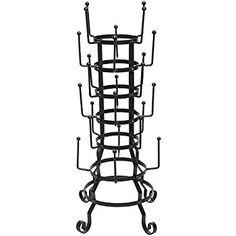 Amazon.com - MyGift Vintage Rustic Black Iron Mug / Glass / Cup / Bottle Hanger Hooks Drying Rack Organizer Stand -