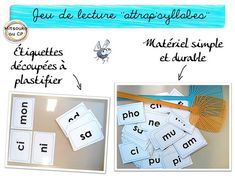 "Jeu de lecture-phonologie ""Attrap'syllabes"" - Mitsouko à l'école Early Literacy, Classroom Organization, Activities, Math, Kids, Cycle 2, Oui, Montessori, Teaching Ideas"