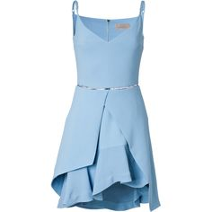 Preen by Thornton Bregazzi Layered Hem Dress (£465) ❤ liked on Polyvore featuring dresses, vestidos, short dresses, blue, mini dress, short blue dresses, ruffle hem dress, blue v neck dress and blue ruffle dress