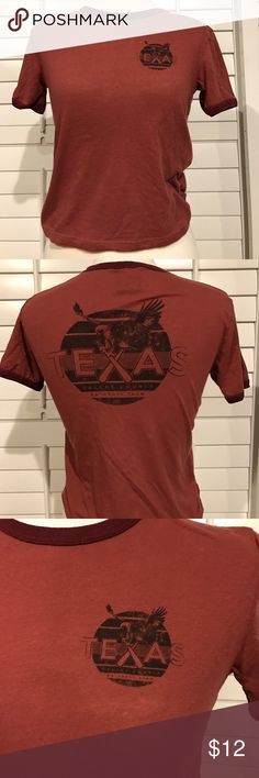 "T Bar Tee Brick red with black design that has an eagle and ""texas"" crop top fit Cotton On Tops Tees - Short Sleeve"