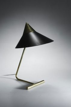 Anonymous; Brass and Enameled Metal Table Lamp, c1958.