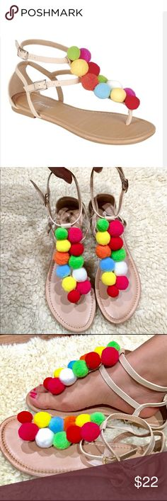 Bohemian Pom Pom sandals PRODUCT DESCRIPTION: Boasting free-spirited embellishments and double buckle closures, this airy sandal exudes dazzling bohemian style.  Buckle closure Man-made Imported All sizes available @shoetemptations  Shoes Sandals