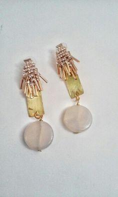 www.aiardodesign.com Orecchini in ottone agata e cristalli