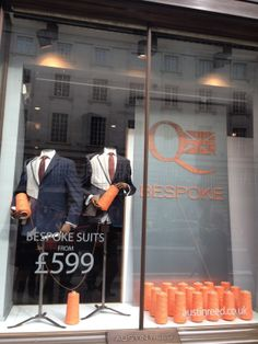 This Bespoke tailoring promotion in the window of Austin Reed on Regents Street, London, uses thread to make up the copy line and logo. #windowdisplays #RetailWindows #Retail