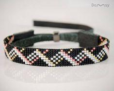 Elegante armband, Beaded Jewelry, elegante sieraden, armband geweven, Miyuki kralen, natuurlijk leder, zwart, wit, goud, roze, Gift