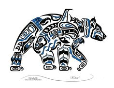 "Haida Art Style Bear ""Kodiak"" - Pacific Northwest Coast Style Bear Art Print (Choose your colo Haida Tattoo, Simbolos Tattoo, Native American Symbols, Native American Design, American Indian Art, Native Symbols, Native American Artists, Inuit Kunst, Inuit Art"