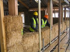 Construction of the straw bale walls was undertaken by volunteers from around the world, keen to understand and learn from the experience