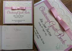 Pale pink with lace Wedding Guest Book  www.jenshandcraftedstationery.co.uk www.facebook.com/jenshandcraftedstationery