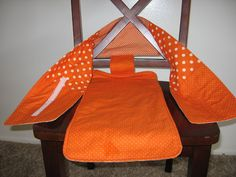 homemade by jill: fabric travel high chair strap with velcro to hold your baby in various chairs Sewing Hacks, Sewing Crafts, Sewing Projects, Sewing Ideas, Craft Projects, Sewing For Kids, Baby Sewing, Travel High Chair, Cute Desk Chair