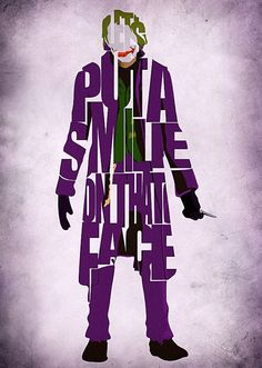 Joker Inspired Poster - Minimalist The Dark Knight Typography Poster via Etsy