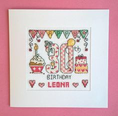 Happy 30th Birthday cross stitch card kit by CelebrateInxStitch