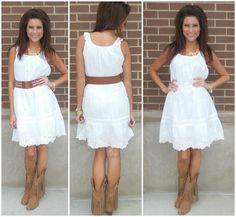fb627114 Apricot Lane Boutique. White dress, chunky belt & cowboy boots. Apricot  Lane Boutique