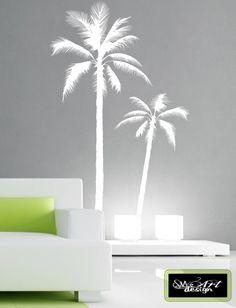 set of 2 Palm Tree Vinyl DECAL Wall art by StupidMillionaireART