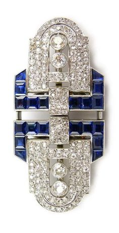 Art Deco sapphire and diamond double clip brooch by Chaumet, Paris, c.1925