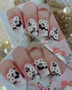 Elegant Nails, Manicure And Pedicure, Nails Inspiration, Flower Designs, Nail Art Designs, Nailart, Lily, Close Up, How To Make