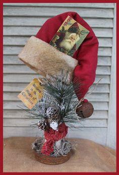 primitive Santa hat pattern make do primitive Christmas decoration Primitive Christmas Decorating, Prim Christmas, Christmas Makes, Christmas Wreaths, Primitive Santa, Primitive Country Christmas, Christmas Projects, Holiday Crafts, Vintage Christmas Crafts