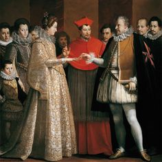 1600 Wedding of Maria de Medici and Henry IV of France by Jacopo Chimenti (Galleria degli Uffizi - Firenze, Toscana, Italy) From oldrags.tumblr.com/tagged/17th+century/page/5 Mode Renaissance, Costume Renaissance, Renaissance Fashion, Italian Renaissance, French History, Art History, Rembrandt, Historical Costume, Historical Clothing