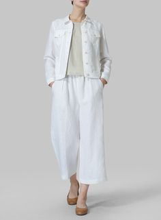 White Linen Button Front Cropped Jacket