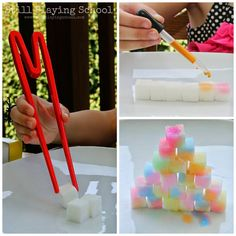 Painting sugar cubes with watercolors on the light table