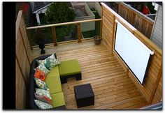 Movie screen on rooftop deck