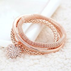 Zinc Alloy Bracelet Set, Heart, plated, charm bracelet & with rhinestone, more colors for choice, nickel, lead & cadmium free, Length:Approx 7.5 Inch, 3Strands/Set,china wholesale jewelry beads