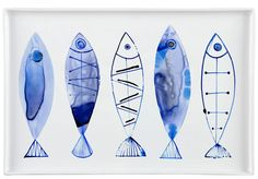 Margaret Berg Art: Retro+Watercolor+Fish+Serveware