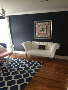 "My friend's fabulous master bedroom!! More ""after"" - white settee, Jonathan Adler dragonfly pillow, framed Hermes scarf"