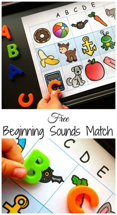 Easy and Free Beginning Letter Sound Match. All you need is magnetic letters, a cookie tray, and this free printable. Great for working on beginning letter sounds, vocabulary, and speech. Kindergarten Centers, Preschool Literacy, Beginning Sounds Kindergarten, Kindergarten Letter Activities, Reading Games For Kindergarten, Kindergarten Curriculum, Alphabet Activities, Learning Activities, Teaching Resources