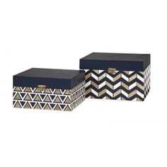 Benzara Attractive Set of 2 Nora Navy and Gold Boxes :: New Products :: FurnishingsMart.com