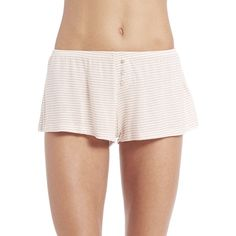 Eberjey Love Letters Shorts ($44) ❤ liked on Polyvore featuring shorts, apparel & accessories, ivory, stripe shorts, elastic waist shorts, pull on shorts, elastic waistband shorts and stretch waist shorts