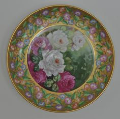 Rare Antique Decorative Gilted Wall Porcelain Plate
