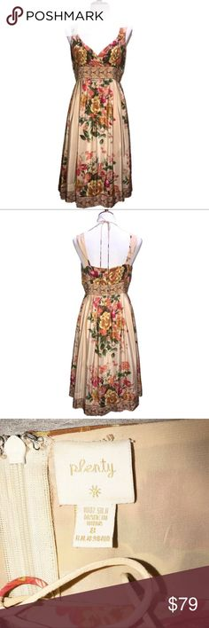 Anthropologie, Plenty Tracy Reese Silk Slip Dress Anthropologie, Plenty by Tracy Reese 100% silk slip dress. Rosy cream with a vintage look floral print. String tie across back neck, empire waistline, and loose flow skirting. Anthropologie Dresses Maxi