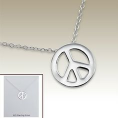 Silver necklace with peace pendant incl. display card - 17068