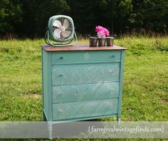 Lovely Lace Stenciled Vintage Dresser Chest with Chalk Paint and Stencil Creme with Royal Design Studio stencils via Farm Fresh Vintage Finds