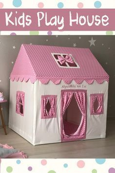 Pink Canvas Teepee Playhouse Tent Indoor Tipi Cotton Play House