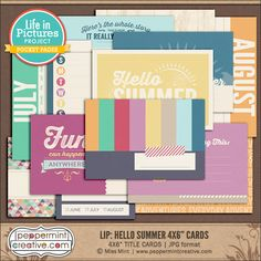 LIP: Hello Summer 4x6 Journal Cards - Summer, Vacation. Travel Themed Pocket Cards perfect for Project Life from www.peppermintcreative.com #printable #pocketcards