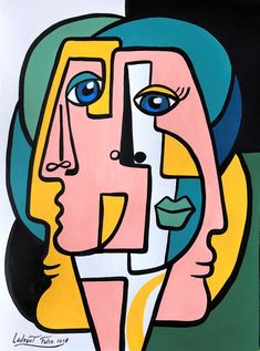 Art Sketches, Art Drawings, Urbane Kunst, Cubist Art, Abstract Face Art, Picasso Art, Art Abstrait, New Art, Painting & Drawing