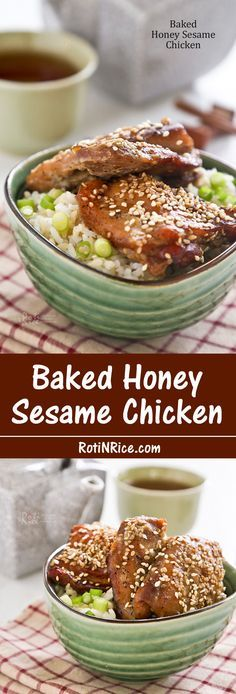 Baked Honey Sesame Chicken using only 5 ingredients and one pan. Fuss free and just as delicious! | RotiNRice.com