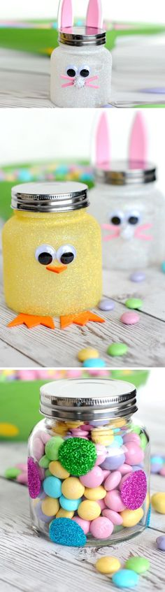 Bunny + Chick Candy Jars   Click Pic for 21 DIY Easter Party Favor Ideas for Teens   Handmade Spring Gift Ideas for Kids